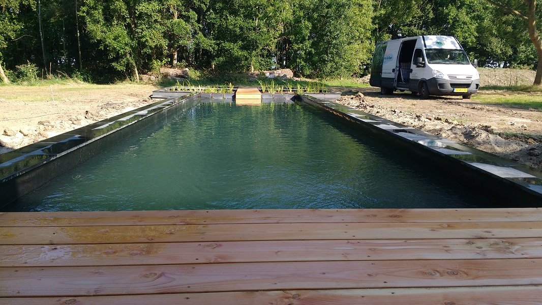 T bouwkundige zwemvijver met natuurlijk plantenfilter en houten